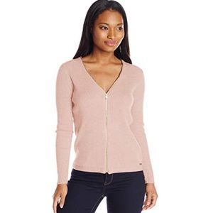 Calvin Klein blush ribbed zipper cardigan sweater